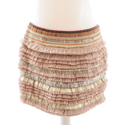 Matthew Williamson Roze / beige raffia rok