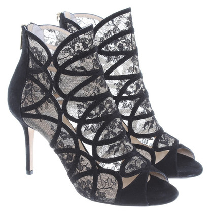 Jimmy Choo Black Suede & lace peep toe boot
