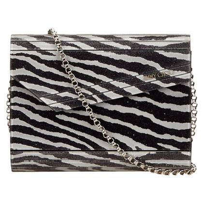 Jimmy Choo Zebra Print PVC Chain Shoulder Bag