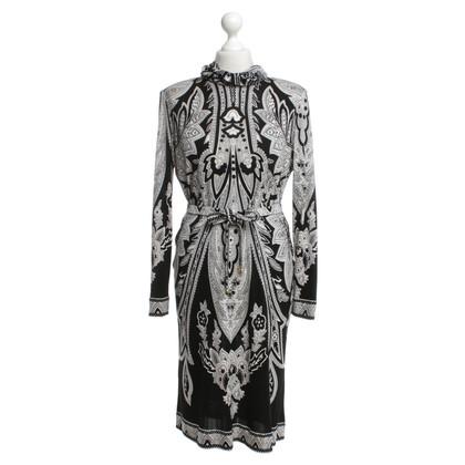Leonard Robe en soie en noir / blanc