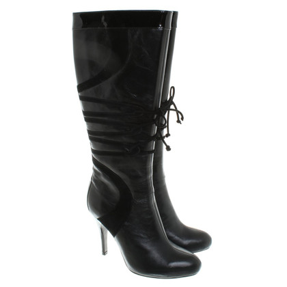 Karen Millen Leather Boots in Black