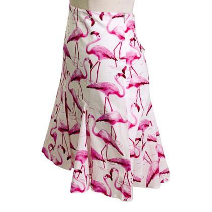 Blumarine A-Linie Faltenrock mit Flamingos