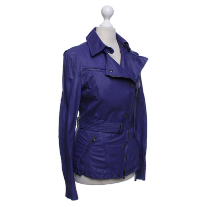 Marc Cain Leather jacket in purple