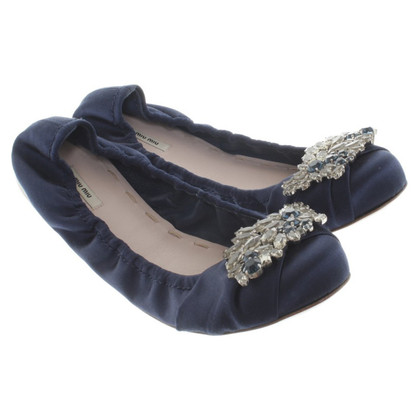 Miu Miu Satin-Ballerinas in Blau