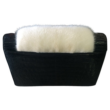 Nancy Gonzalez Crocodile leather with fur clutch