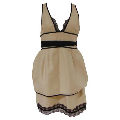 Dsquared2 Dsquared2 Crème Zwarte katoenen jurk