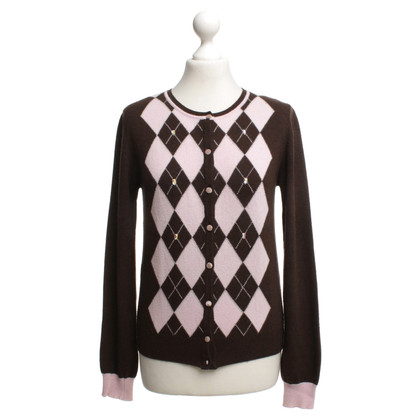 Blumarine Cardigan with check pattern in brown / beige