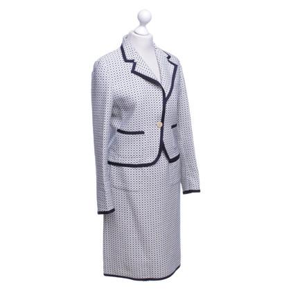 Max Mara Costume en laine blanche / bleu foncé