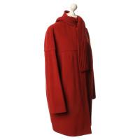 Akris Cappotto con sciarpa in rosso