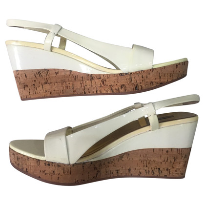Miu Miu Wedges in Ecru