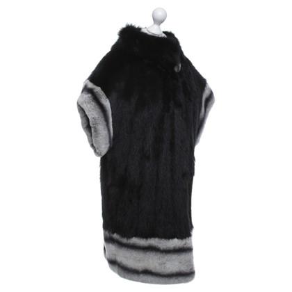 Altre marche Chinchilla cappotto di pelliccia con bordo in pelliccia