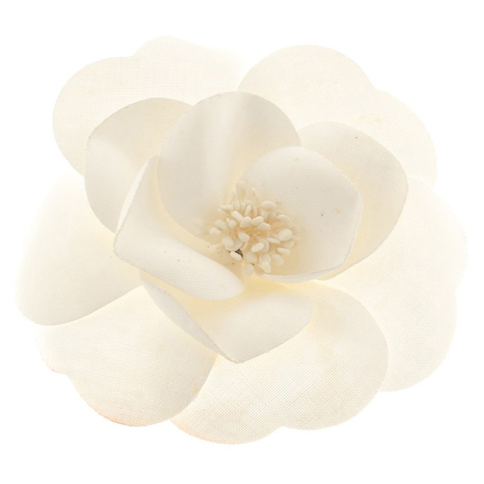 Chanel Camellia brooch in white