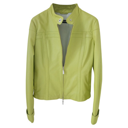 Versace Leather jacket in lime green