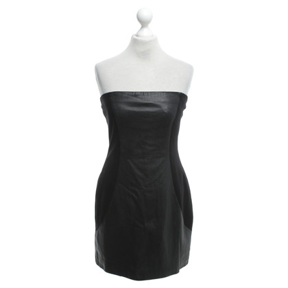 Halston Heritage Black dress with lamb leather