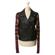 Matthew Williamson Art leather jacket with knit inserts